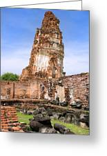 Wat Mahathat Temple In Ayutthaya Greeting Card