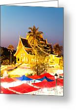 Wat Mai Temple And Night Market - Luang Prabang - Laos Greeting Card