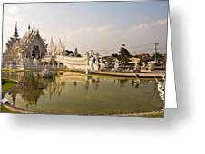 Wat Rong Khun And Its Reflection In Chiang Rai Thailand  Greeting Card