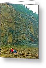 Watching Climbers From Ocean Floor At Cape Enrage-nb Greeting Card