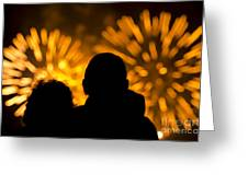 Watching Fireworks Greeting Card