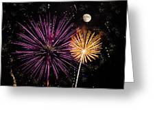Watching Pink And Gold Explosion - Fireworks And Moon II Greeting Card