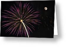 Watching Pink And Gold Explosion - Fireworks And Moon I  Greeting Card