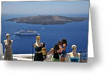 Watching The View In Santorini Island Greeting Card