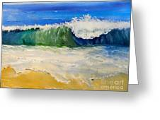 Watching The Wave As Come On The Beach Greeting Card