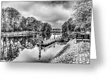 Water Bus Stop Bute Park Cardiff Mono Greeting Card