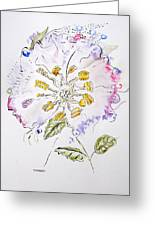 Water Color And Ink Flower Greeting Card