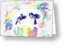 Water Color Bird Fight Greeting Card