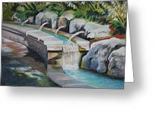 Water Fall In The Gratto Greeting Card