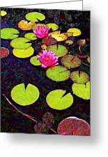 Water Lilies With Pink Flowers - Vertical Greeting Card