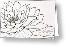 Water Lily Line Drawing Greeting Card