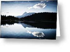Water Reflection Blue Black And White Greeting Card