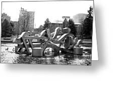 Water Sculpture In Spokane Greeting Card