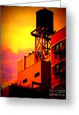 Water Tower With Orange Sunset Greeting Card