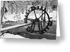 Water Wheel In Snow Greeting Card