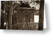 Water Wheel Shed I Sepia Greeting Card