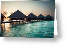 Waterbungalows At Sunset Greeting Card