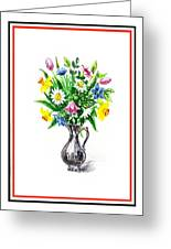 Watercolor Flowers Bouquet In Metal Pitcher Impressionism Greeting Card
