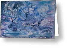 Watercolor - Icy Winter Landscape Greeting Card