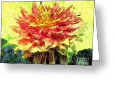 Watercolor Of Dreamy Dahlia Greeting Card
