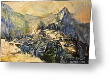 Watercolor Painting Machu Picchu Peru Greeting Card