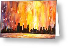 Watercolor Painting Of Skycrapers Of Downtown Chicago As Viewed  Greeting Card