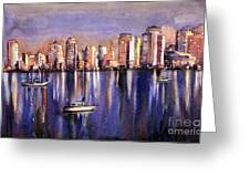 Watercolor Painting Of Vancouver Skyline Greeting Card