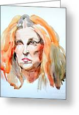 Watercolor Portrait Of A Mad Redhead Greeting Card