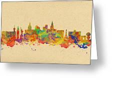 Watercolor Skyline Of Las Vegas Nevada  Usa Greeting Card