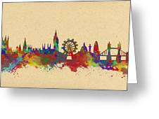 Watercolor Skyline Of London Greeting Card