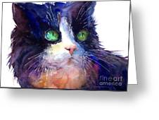 Watercolor Tuxedo Tubby Cat Greeting Card