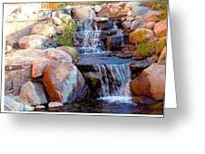 Waterfall Among Rocks Greeting Card