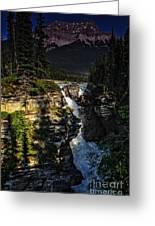 Waterfall And Mountain In Jasper Greeting Card