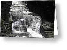 Waterfall And Rocks Greeting Card
