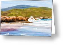 Waterfall Beach Denmark Painting Greeting Card