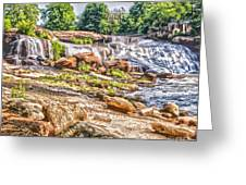 Waterfall In Contrast Greeting Card
