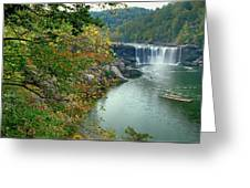 Waterfall In Forest, Cumberland Falls Greeting Card