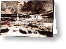 Waterfall In Sepia Greeting Card