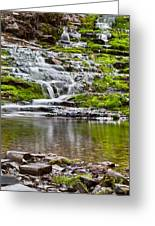 Waterfall In The Forest In Autumn Season  Greeting Card