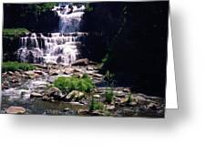 Waterfall Into The Stream Greeting Card