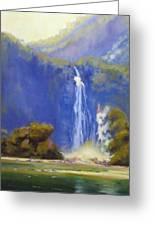 Waterfall New Zealand Greeting Card