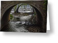 Waterfall Under Railroad Tracks Greeting Card