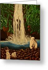 Waterfall With Polar Bears Greeting Card
