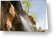Waterfall Zion National Park Greeting Card