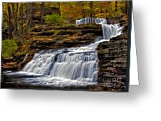 Waterfalls In The Fall Greeting Card by Susan Candelario