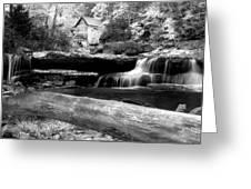 Waterfalls Mill Black N White Greeting Card