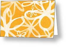 Waterflowers- Orange And White Greeting Card by Linda Woods