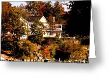 Waterfront Home In Fall Greeting Card