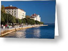 Waterfront Promenade In Zadar Greeting Card