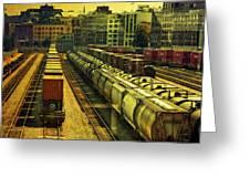 Waterfront Rail Yard Greeting Card